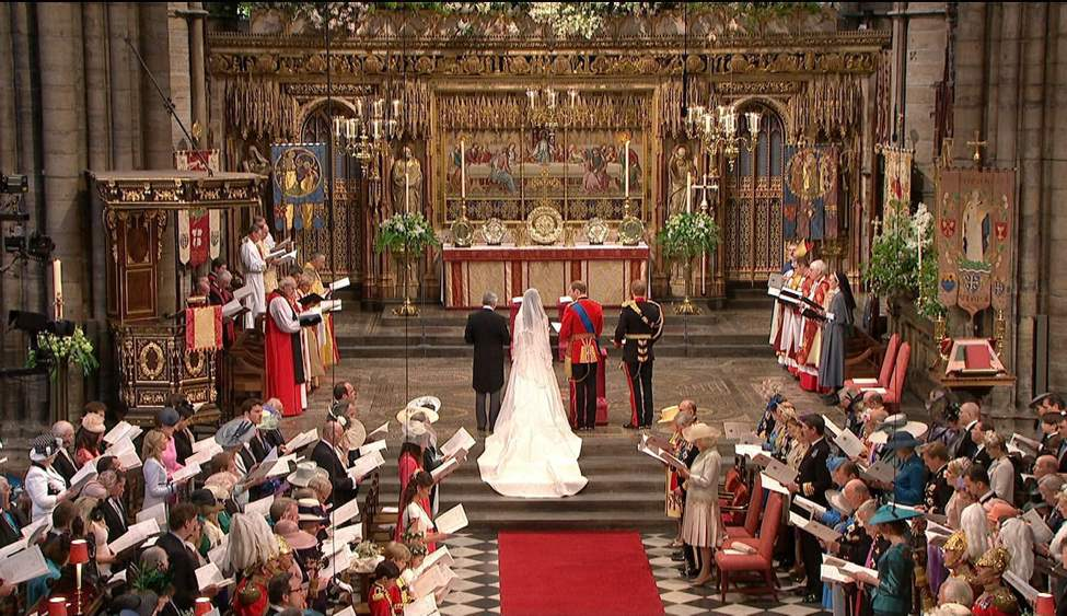 In this image taken from video, Britain's Prince William and Kate Middleton stand at the alter at Westminster Abbey for the Royal Wedding in London on Friday, April, 29, 2011. (AP Photo/APTN)